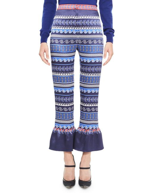 Mary Katrantzou | Blue Printed Satin Ruffle-cuff Pants | Lyst