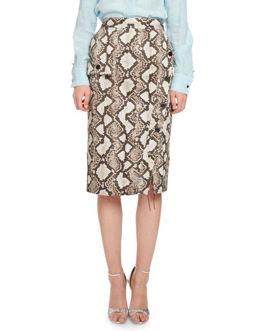 Altuzarra | Natural Curry Python-print Pencil Skirt | Lyst