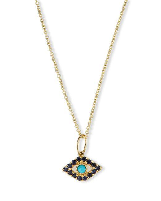Sydney Evan | Metallic Small Turquoise Cabochon Evil Eye Pendant Necklace W/sapphires | Lyst