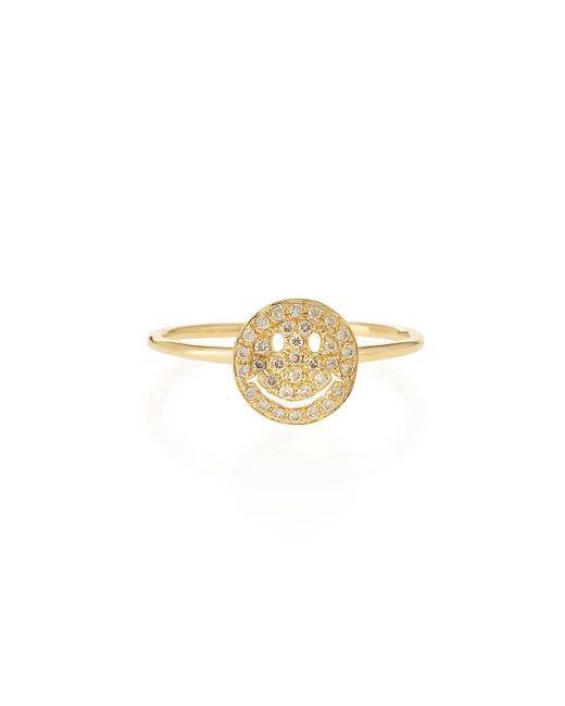 Sydney Evan | Metallic 14k Gold Happy Face Diamond Ring | Lyst