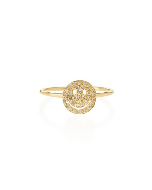 Sydney Evan | Metallic 14k Gold Happy Face Diamond Ring | Lyst