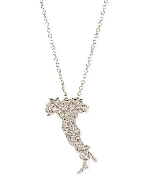 Roberto Coin | 18k White Gold & Diamond Boot Of Italy Necklace | Lyst