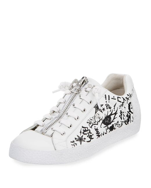 Ash | White Nova Printed Leather Zip-front Sneaker | Lyst