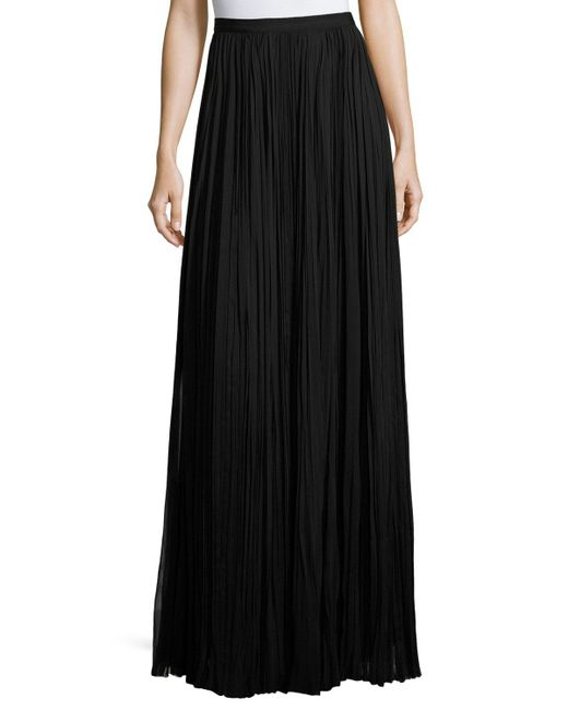 J. Mendel | Black Classic Pleated Silk Maxi Skirt | Lyst