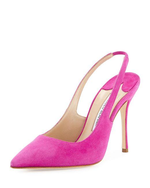 Manolo Blahnik | Pink Allura Suede 105mm Slingback Pump | Lyst