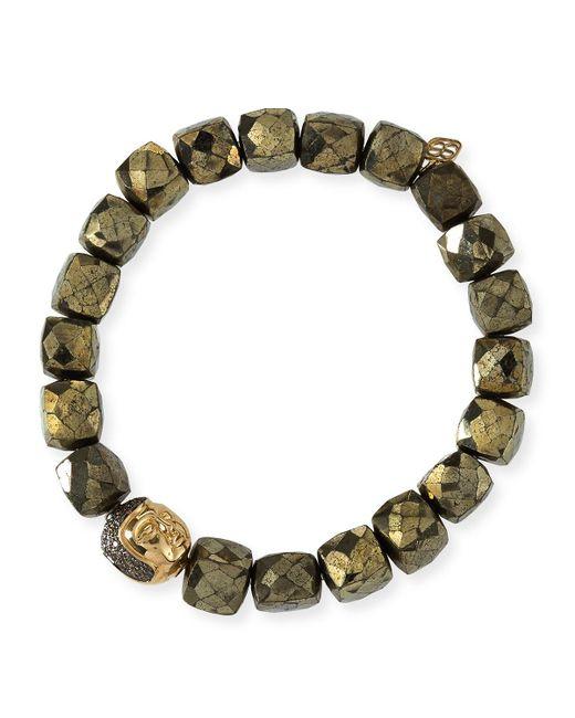 Sydney Evan   Metallic 8mm Cubed Pyrite Beaded Bracelet W/ 14k Diamond Buddha Bead   Lyst