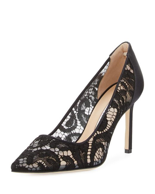 Manolo Blahnik | Black Bb Lace 90mm Pointed-toe Pump | Lyst