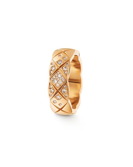 Chanel   Metallic Coco Crush Ring In 18k Beige Gold And Diamonds   Lyst