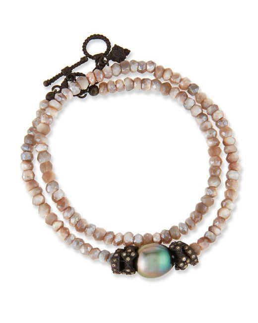 Armenta | Metallic Old World Mystic Moonstone & Pearl Bracelet With Champagne Diamonds | Lyst