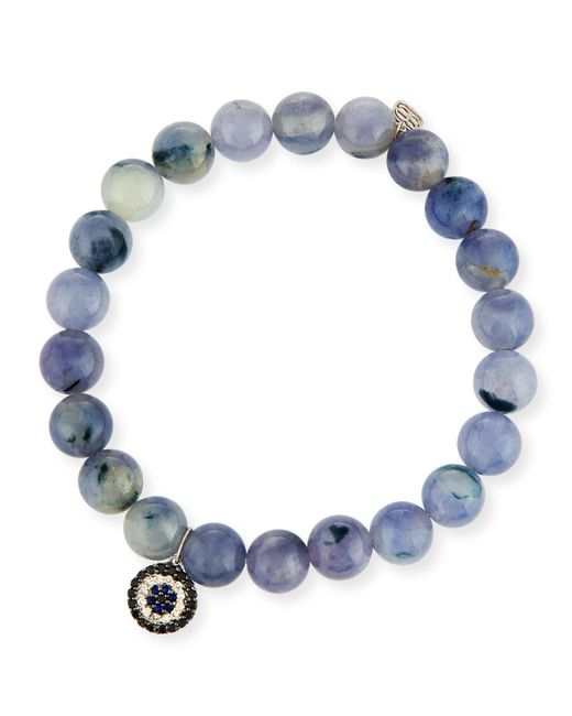 Sydney Evan | Blue 8mm Beaded Iolite Bracelet With Sapphire & Diamond Charm | Lyst