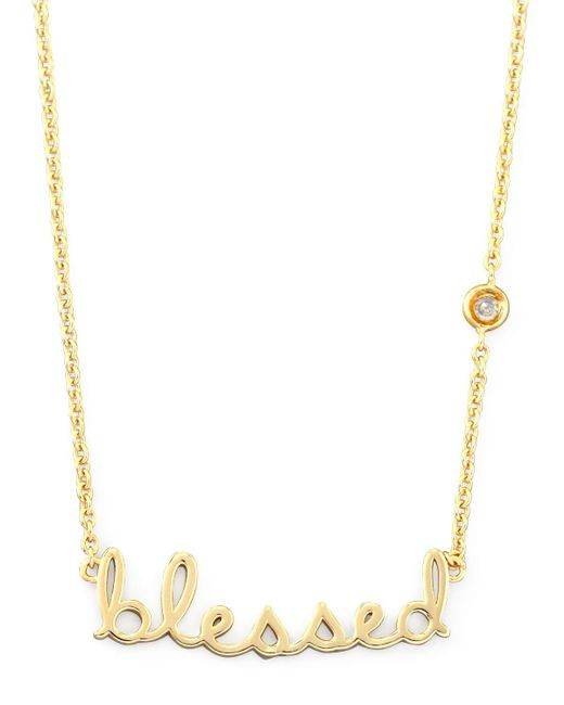 Shy By Sydney Evan | Metallic Blessed Pendant Bezel Diamond Necklace | Lyst