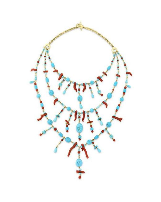 Paul Morelli - Blue Turquoise & Red Coral Bib Necklace - Lyst