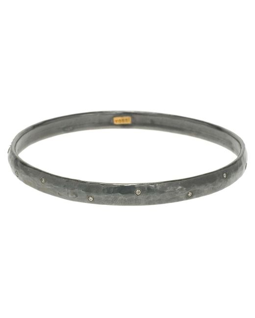 """Yossi Harari - Metallic Oxidized Gilver & Diamond """"mica"""" Bangle - Lyst"""