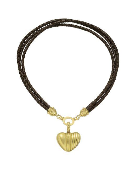 Judith Ripka - 22k Yellow Gold, Diamond & Leather Heart Pendant - Lyst