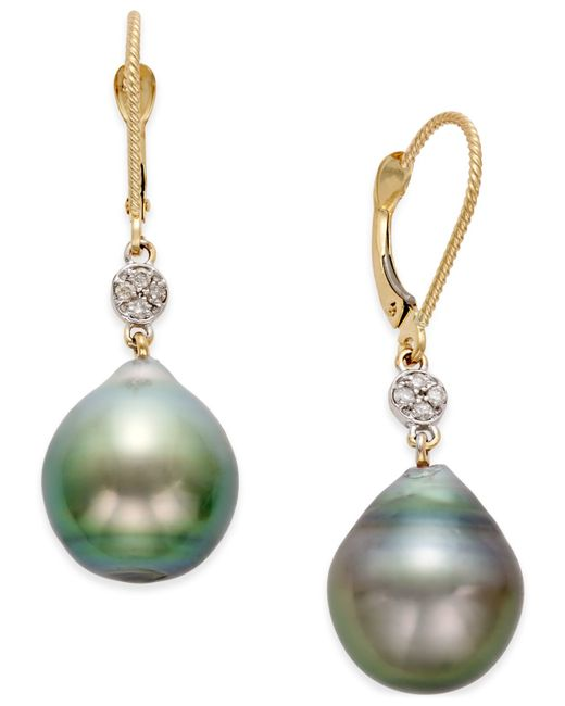 macy s pearl earrings macy s cultured tahitian pearl 12mm and accent 2986