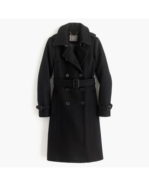 J.Crew | Black Icon Trench Coat In Italian Wool Cashmere | Lyst