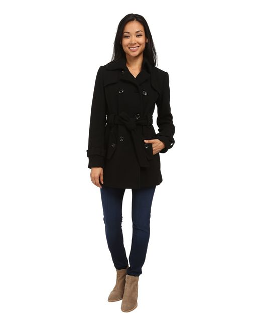 Calvin Klein | Black Double Breasted Belted Wool Trench Coat | Lyst