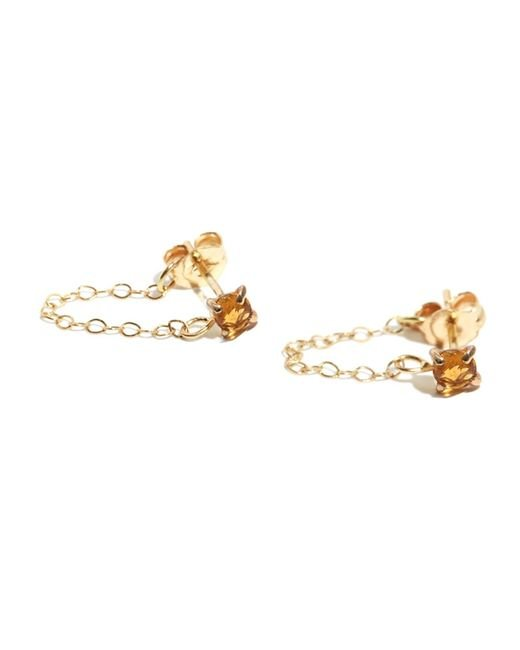 Melissa Joy Manning | Metallic Citrine Post Earrings With Chain Wrap | Lyst