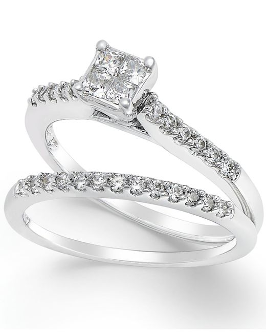 Macy s Diamond Engagement Ring Bridal Set 1 2 Ct T w In 14k White Gol