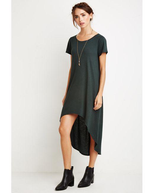 Forever 21 | Green Curved-hem T-shirt Dress | Lyst