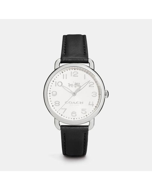 COACH | Black Delancey 36mm Stainless Steel Leather Strap Watch | Lyst