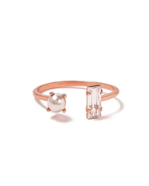Bing Bang | Pink Open Pearl Baguette Ring | Lyst