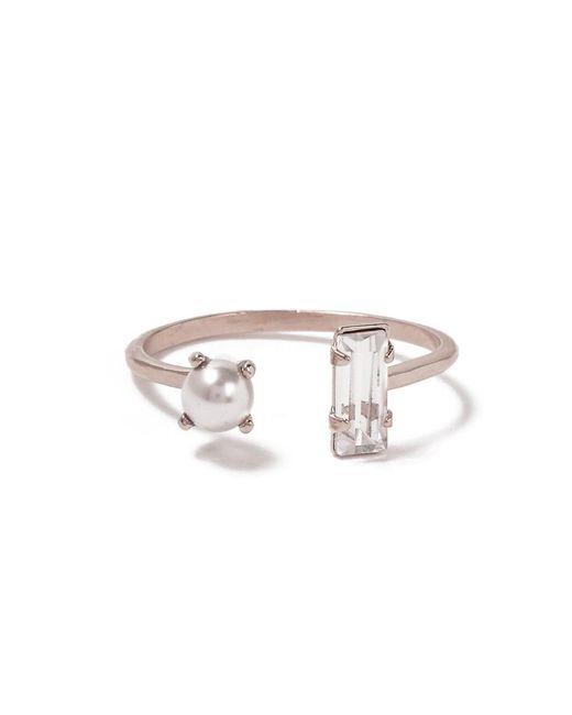 Bing Bang | Metallic Open Pearl Baguette Ring | Lyst