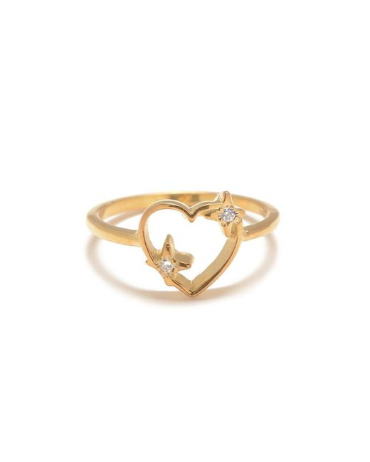 Bing Bang - Metallic Sparkle Heart Ring With Diamond Accents - Lyst