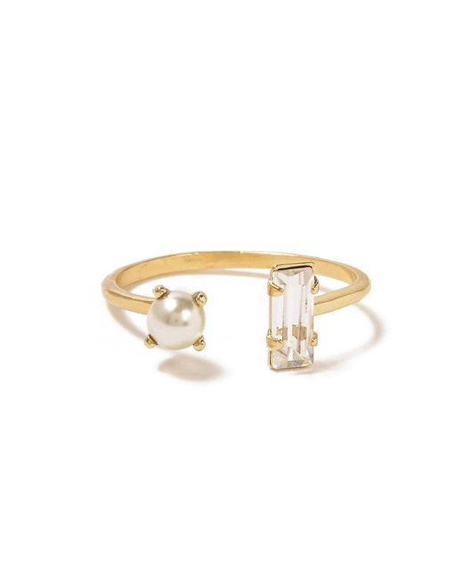 Bing Bang - Yellow Open Pearl Baguette Ring - Lyst