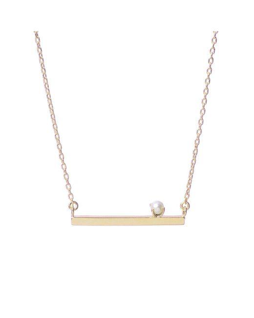 Bing Bang - Yellow Pearl Bar Necklace - Lyst