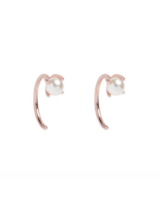 Bing Bang - Metallic Tiny Pearl Hugger Hoops - Lyst