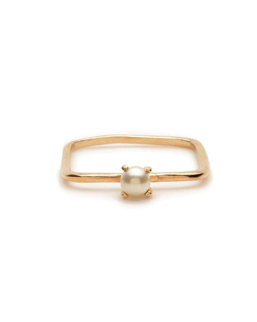 Bing Bang - Yellow Square Tiny Pearl Ring - Lyst