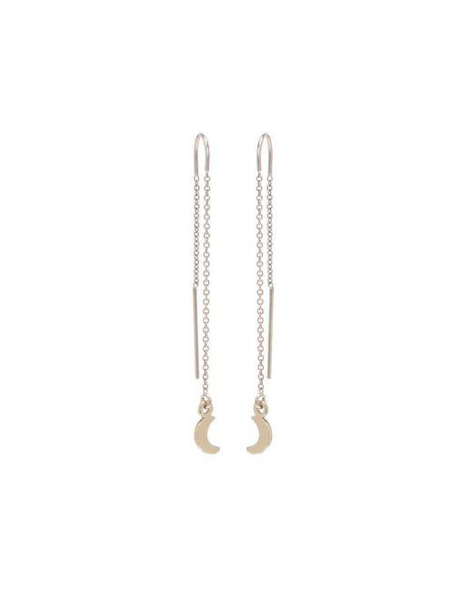 Bing Bang | Metallic Little Moon Threader Earrings | Lyst