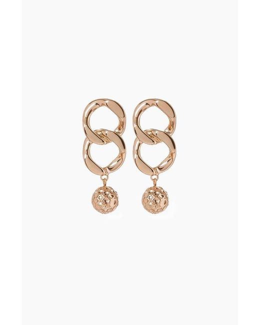 Luv Aj - Metallic The Chain Link Hammered Ball Earrings - Rose Gold - Lyst
