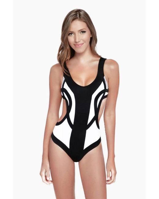 OYE Swimwear - Rorschach Cut Out One Piece Swimsuit - White & Black - Lyst