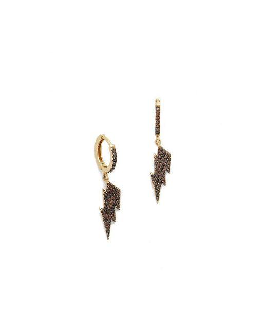 Talia Naomi | Black Firebolt Sleeper Hoop Earrings | Lyst