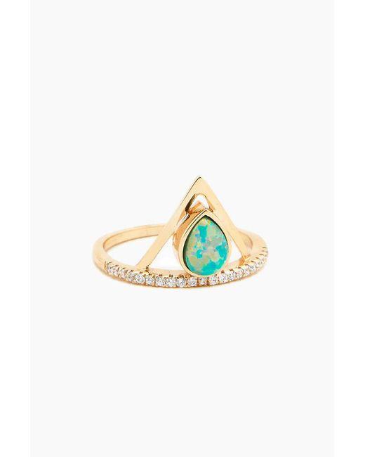 Elizabeth Stone - Metallic Pave Triangle Ring - Aqua Opal - Lyst