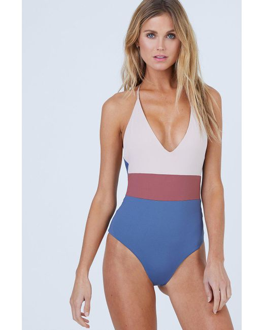 4c124dceb1 Tavik - Blue Chase Reversible One Piece Swimsuit - Muted Indigo Color Block  - Lyst ...