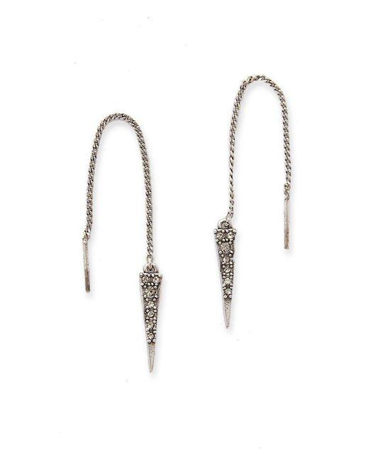 Luv Aj - Metallic The Pave Spike Thread Earrings - Silver - Lyst