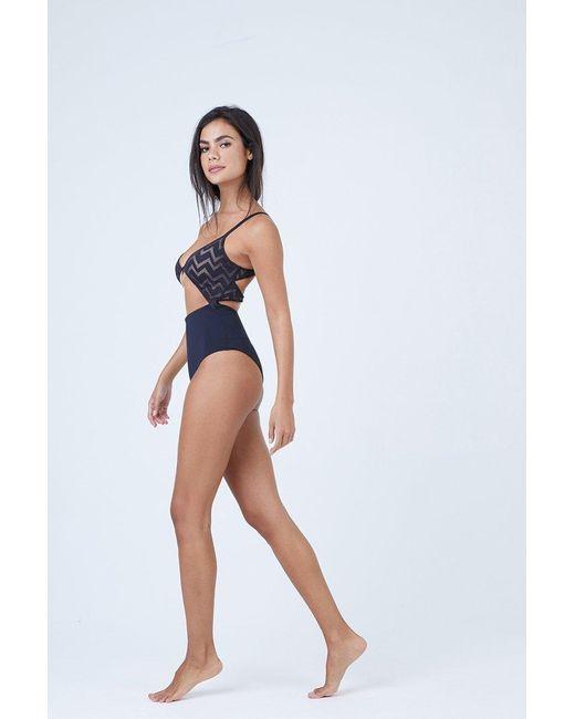 a9da781b9a1 ... Tavik - Penelope Textured Center Cut Out One Piece Swimsuit - Black  Chevron Print - Lyst ...