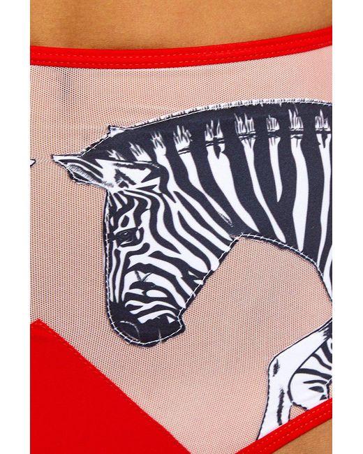 01bd68446fd42 ... Lee + Lani - Zebra High Rise Bikini Bottom - Pink Mesh red - Lyst ...