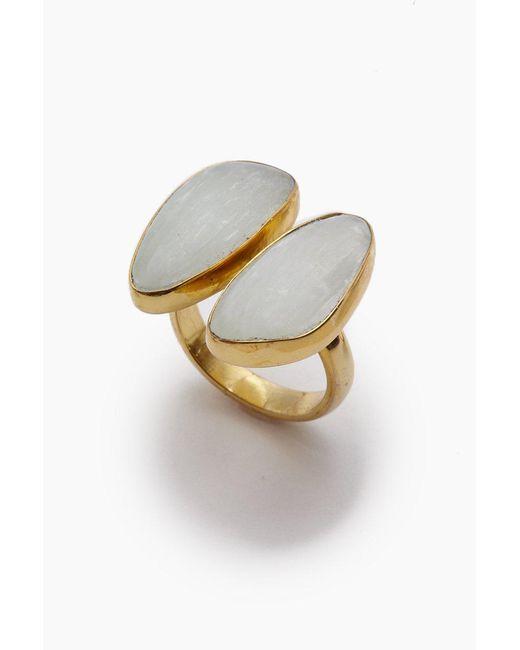 Lena Bernard - Metallic Naenia Selenite Stone Gold Ring - Lyst