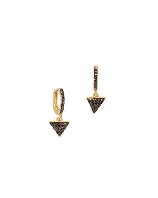 Talia Naomi | Black Triangle Sleeper Hoop Earrings | Lyst