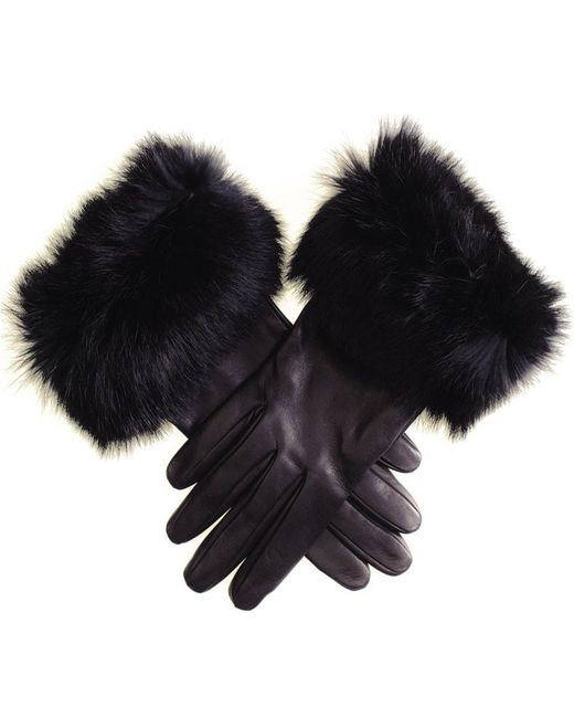 Black.co.uk - Ladies' Black Leather Gloves With Rabbit Fur Cuff - Lyst