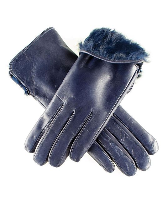 Black.co.uk | Ladies Navy Blue Rabbit Fur Lined Leather Gloves | Lyst