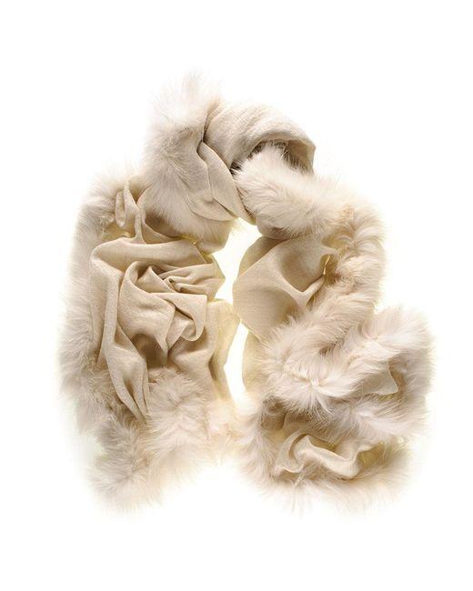 Black.co.uk - Natural Fur Trimmed Cream Cashmere Ring Shawl - Lyst