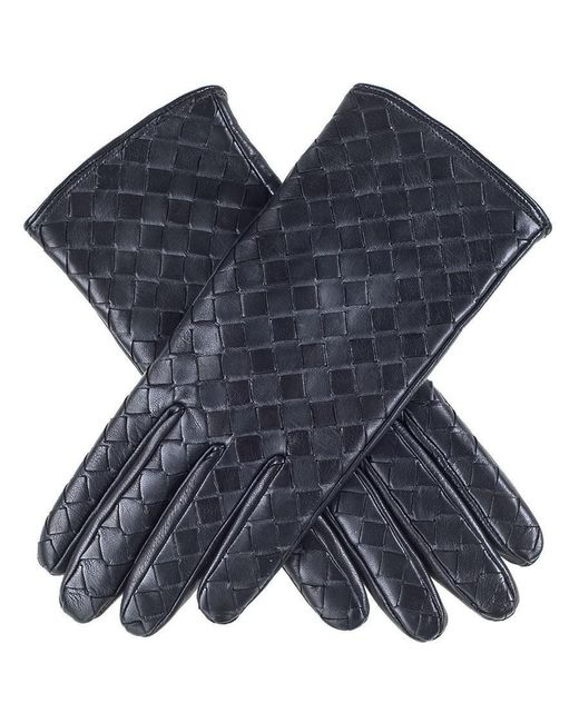 Black.co.uk - Blue Black Woven Nappa Leather Gloves - Lyst