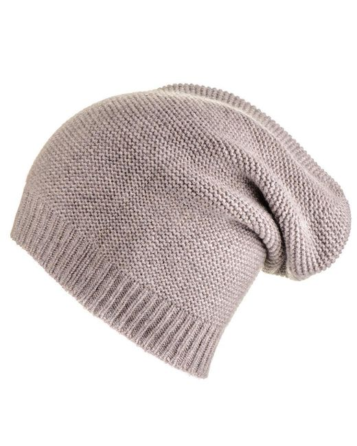 Black.co.uk | Light Brown Purl Stitch Cashmere Slouch Beanie | Lyst