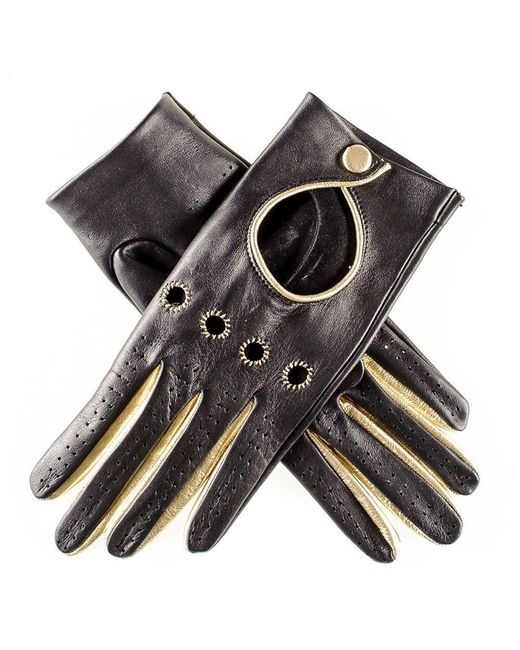 Black.co.uk | Black And Gold Leather Driving Gloves | Lyst
