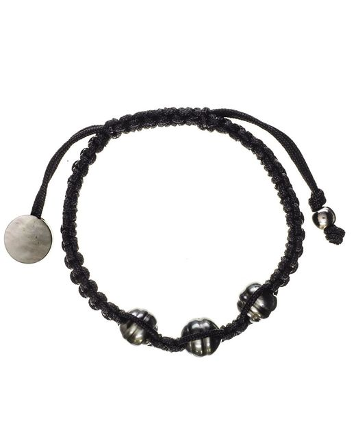 Black.co.uk | Callisto Tahitian Black Pearl And Macrame Bracelet | Lyst